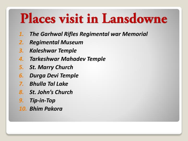 Places visit in lansdowne