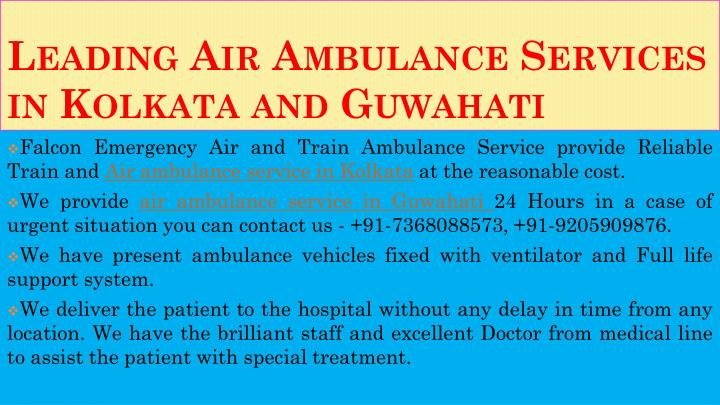 Leading air ambulance services in kolkata and guwahati