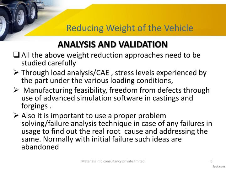 Reducing Weight of the Vehicle
