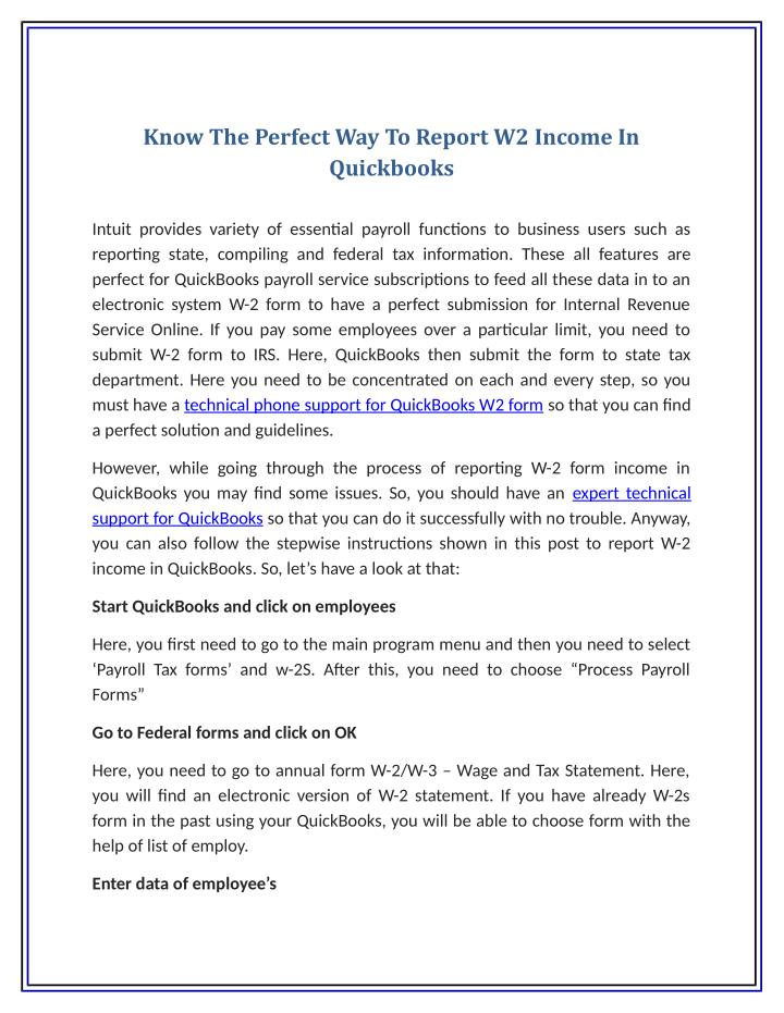 Know The Perfect Way To Report W2 Income In