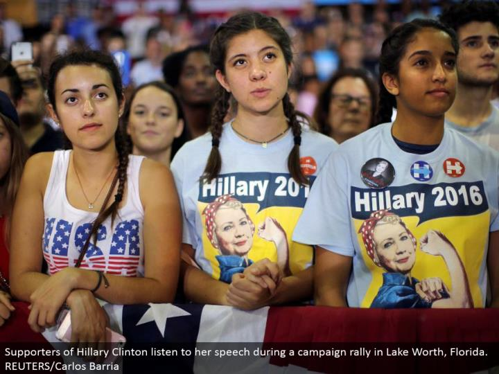 Supporters of Hillary Clinton hear her out discourse amid a crusade rally in Lake Worth, Florida. REUTERS/Carlos Barria