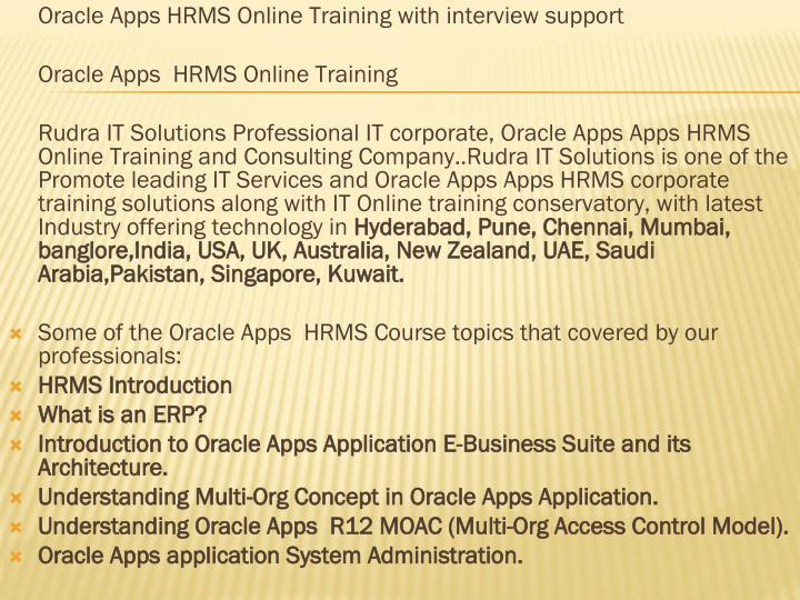 Oracle Apps HRMS Online Training with interview support