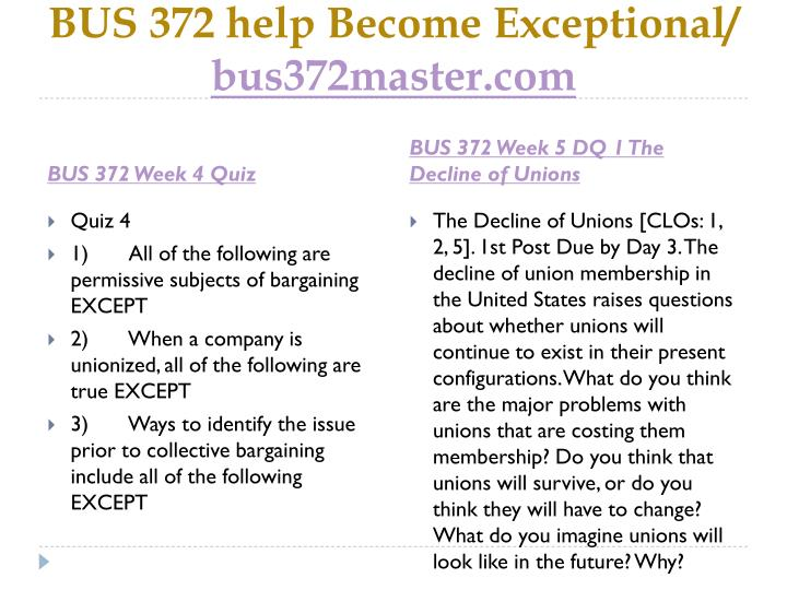 BUS 372 help Become Exceptional/