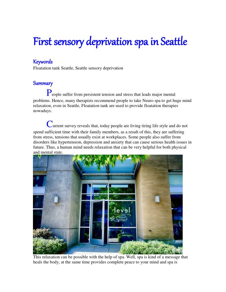 First sensory deprivation spa in Seattle