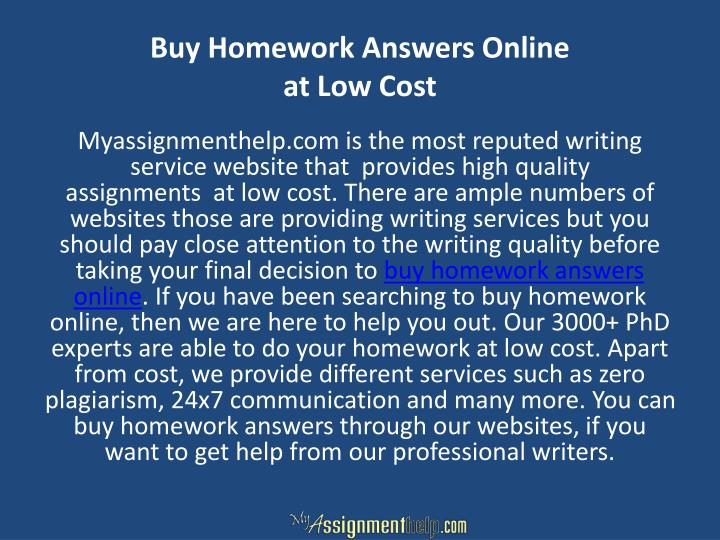 Buy Homework Answers Online