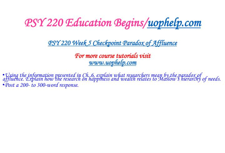 PSY 220 Education Begins/