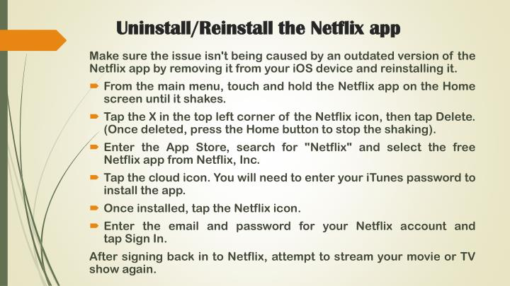 Uninstall/Reinstall the Netflix