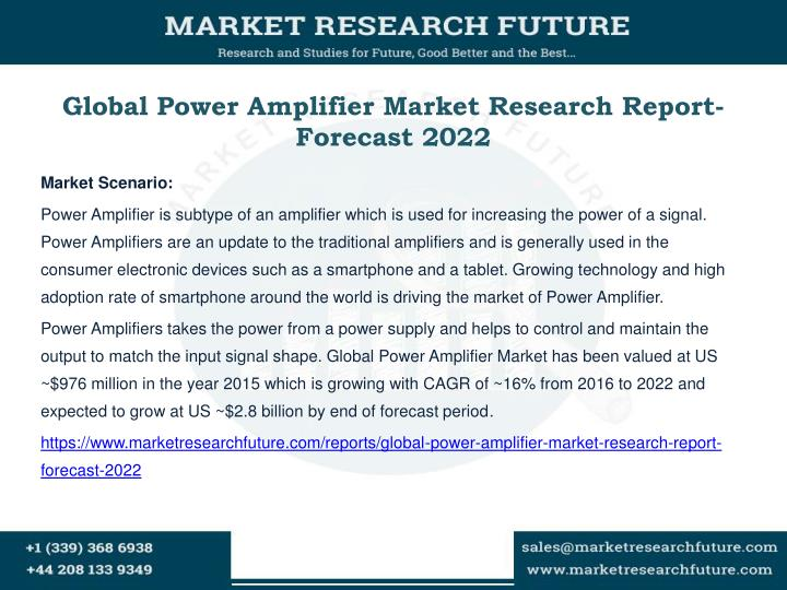 Global power amplifier market research report forecast 2022