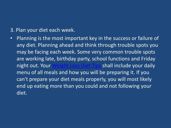 3. Plan your diet each week.