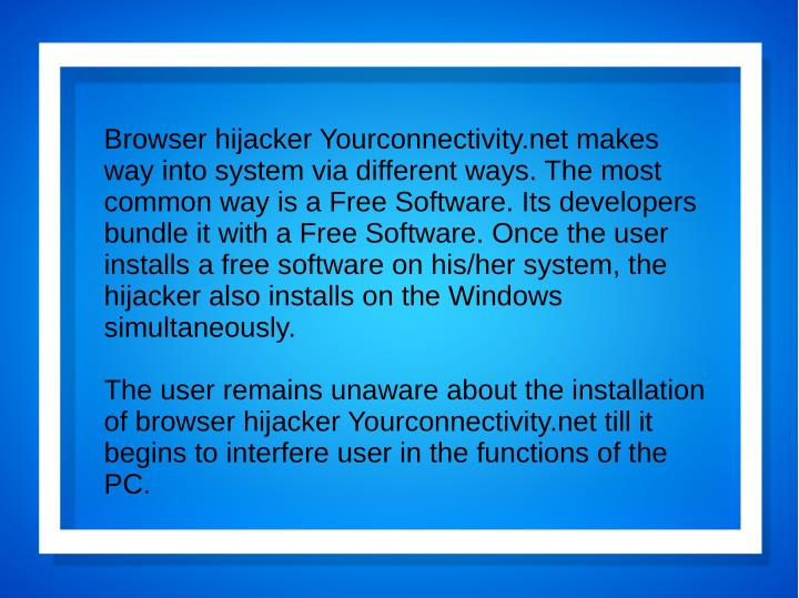 Browser hijacker Yourconnectivity.net makes
