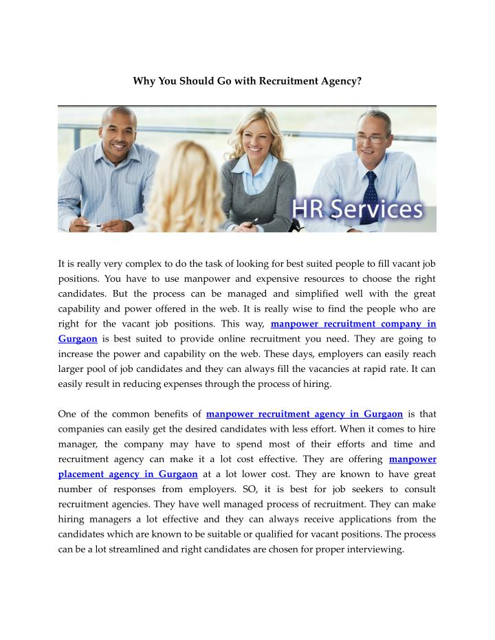 Why You Should Go with Recruitment Agency?