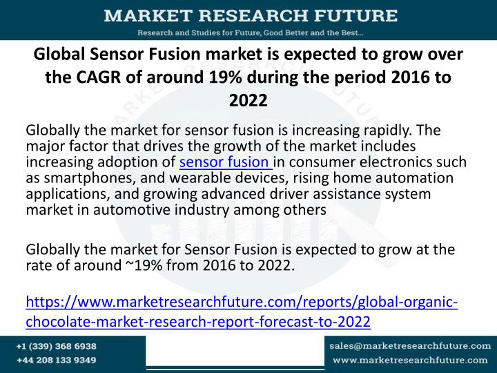 Global Sensor Fusion market is expected to grow over