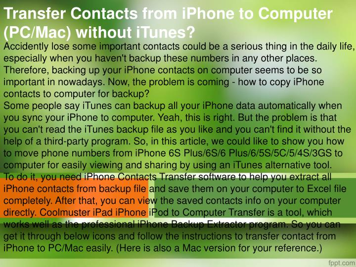 Transfer Contacts from iPhone to Computer (PC/Mac) without iTunes
