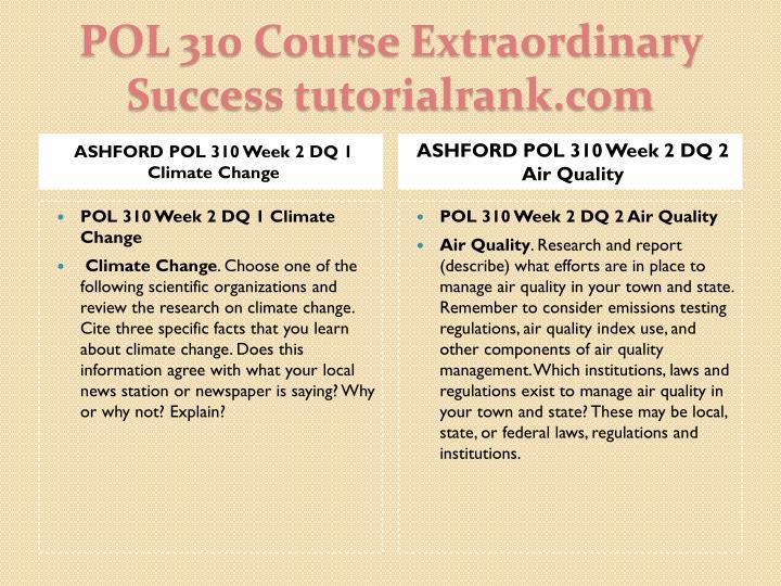 ASHFORD POL 310 Week 2 DQ 1 Climate Change