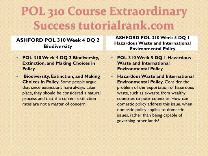 ASHFORD POL 310 Week 4 DQ 2 Biodiversity