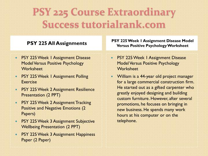 Psy 225 course extraordinary success tutorialrank com1