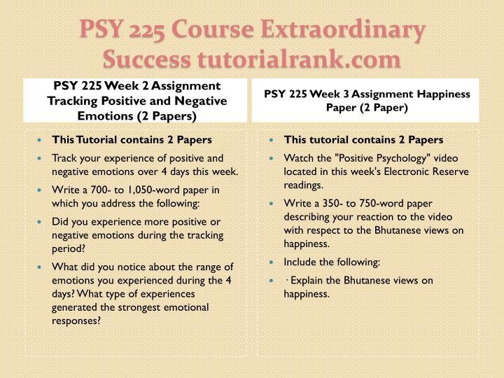 PSY 225 Week 2 Assignment Tracking Positive and Negative Emotions (2 Papers)