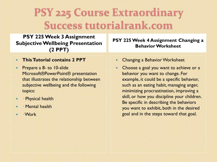 PSY 225 Week 3 Assignment Subjective Wellbeing Presentation (2 PPT)