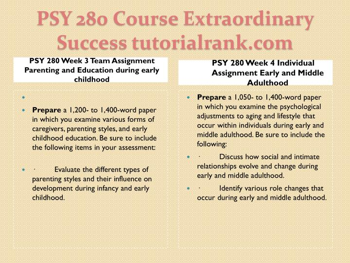 PSY 280 Week 3 Team Assignment Parenting and Education during early childhood