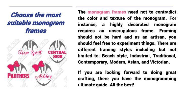 Choose the most suitable monogram frames