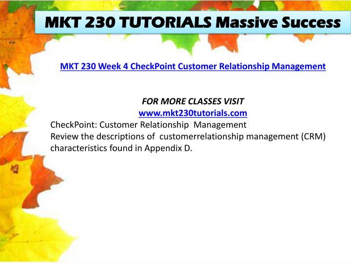 MKT 230 TUTORIALS Massive Success