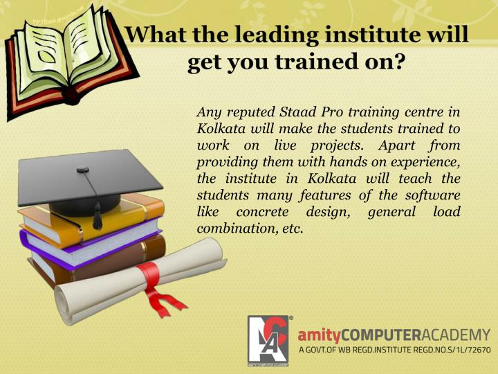 What the leading institute will get you trained on?