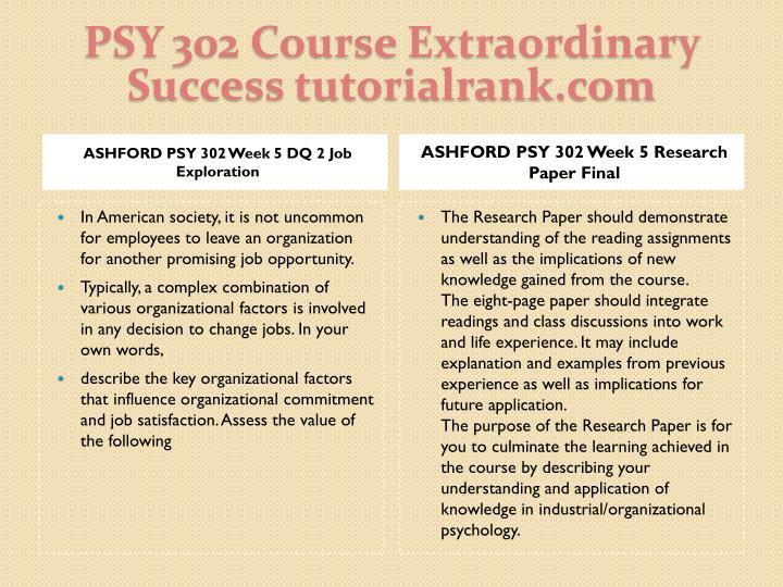 PSY 302 Course Extraordinary  Success tutorialrank.com