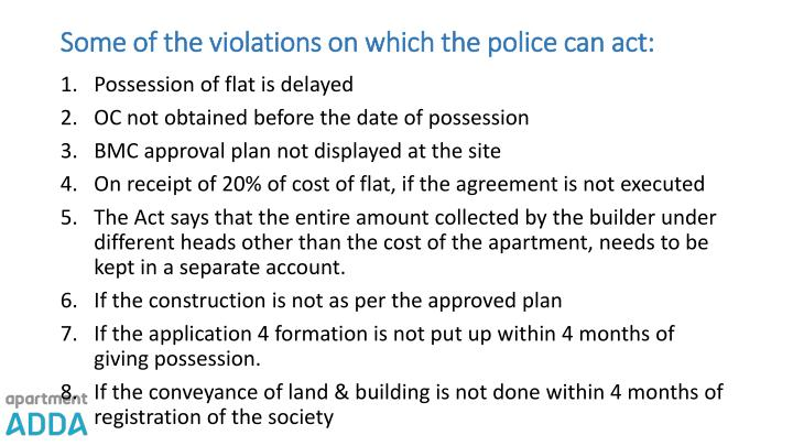 Some of the violations on which the police can act