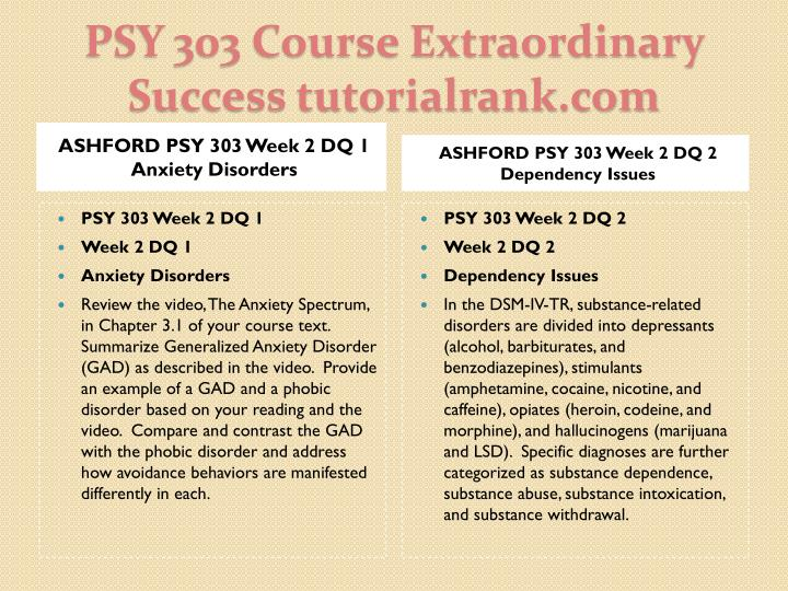 ASHFORD PSY 303 Week 2 DQ 1 Anxiety Disorders