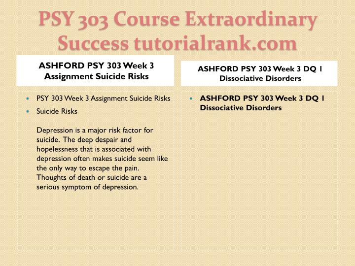 ASHFORD PSY 303 Week 3 Assignment Suicide Risks
