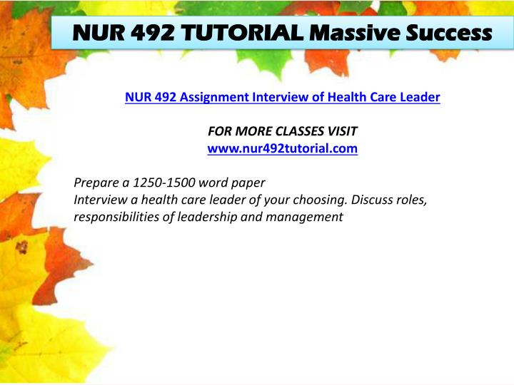 NUR 492 TUTORIAL Massive Success