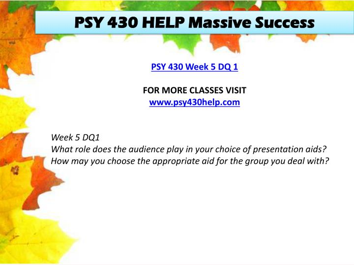 PSY 430 HELP Massive Success