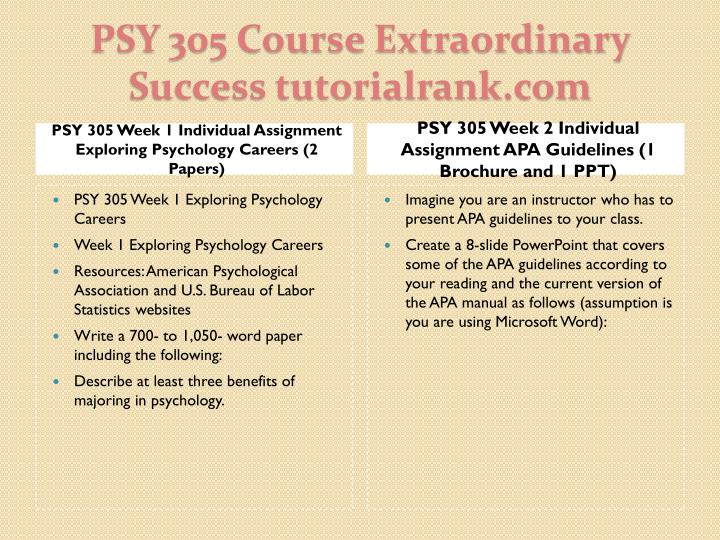 PSY 305 Week 1 Individual Assignment Exploring Psychology Careers (2 Papers)