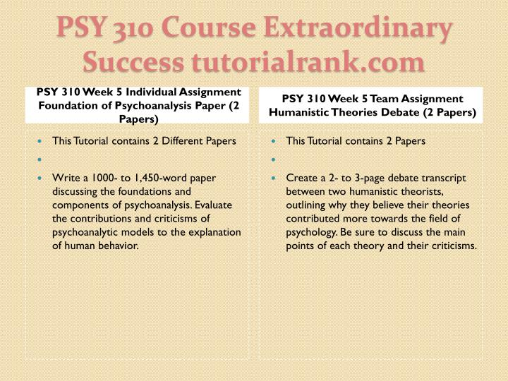 PSY 310 Week 5 Individual Assignment Foundation of Psychoanalysis Paper (2 Papers)