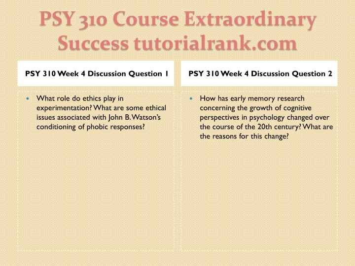 PSY 310 Week 4 Discussion Question 1
