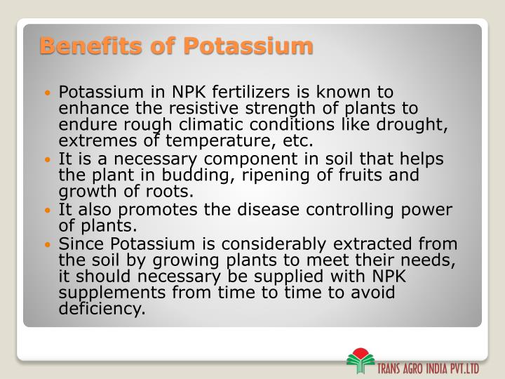 Potassium in NPK fertilizers