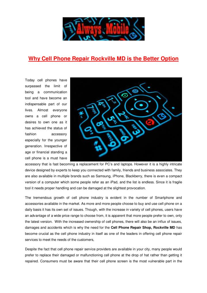 Why Cell Phone Repair Rockville MD is the Better Option
