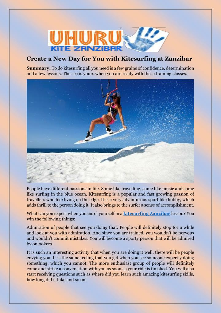 Create a New Day for You with Kitesurfing at Zanzibar