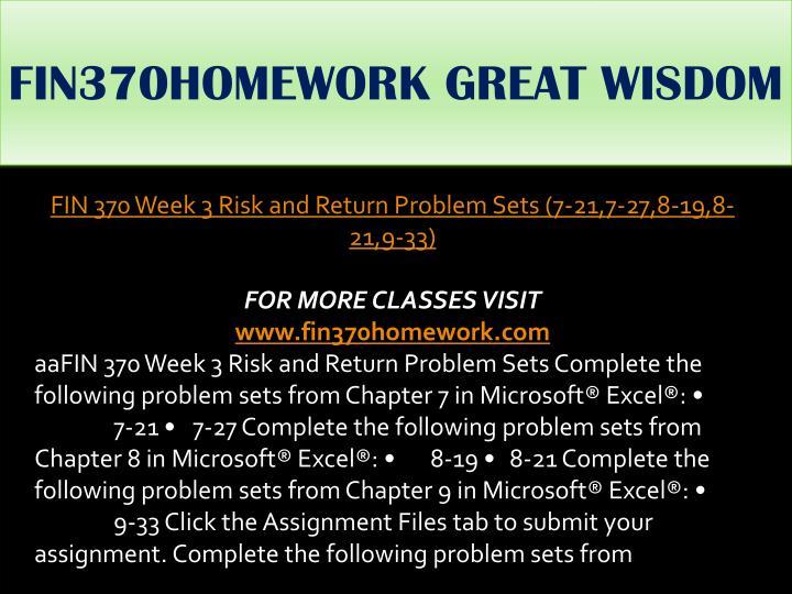 FIN370HOMEWORK GREAT WISDOM
