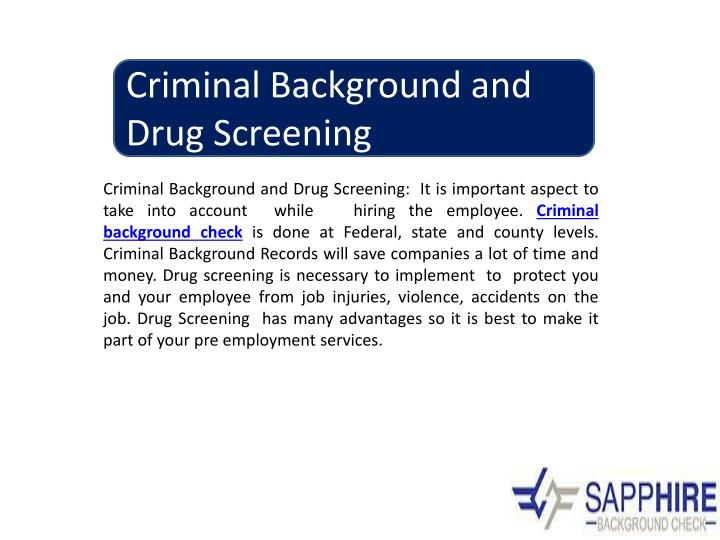 Criminal Background and Drug Screening
