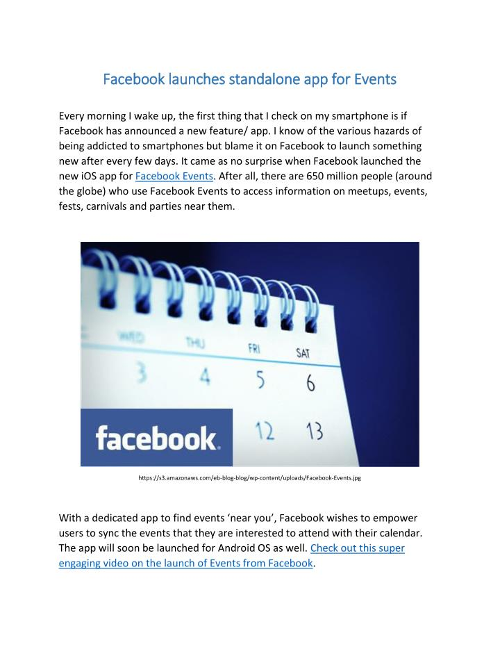 Facebook launches standalone app for Events
