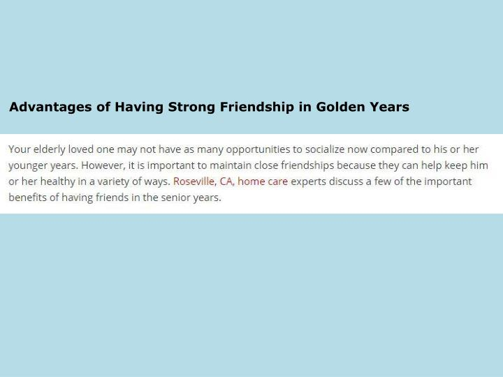 Advantages of Having Strong Friendship in Golden Years