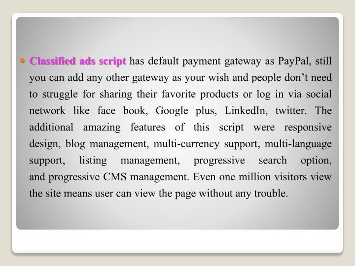 Classified ads script