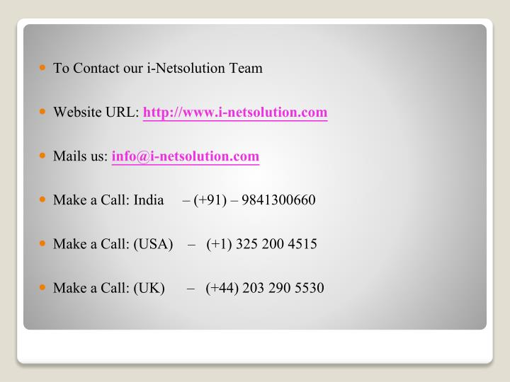 To Contact our i-Netsolution