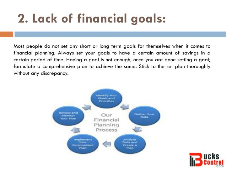 2. Lack of financial goals: