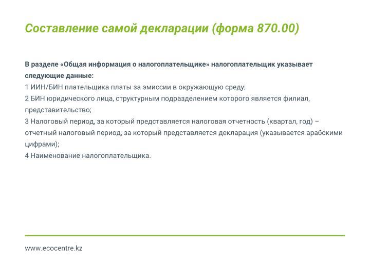 Составление самой декларации (форма 870.00)
