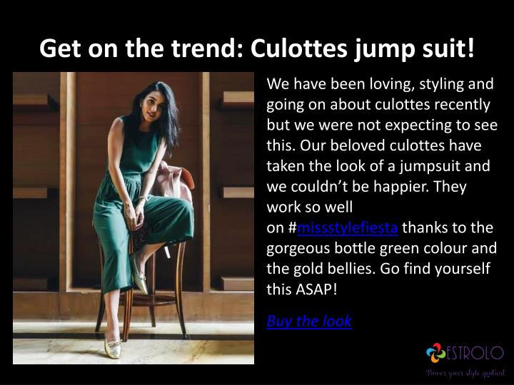 Get on the trend: Culottes jump suit!