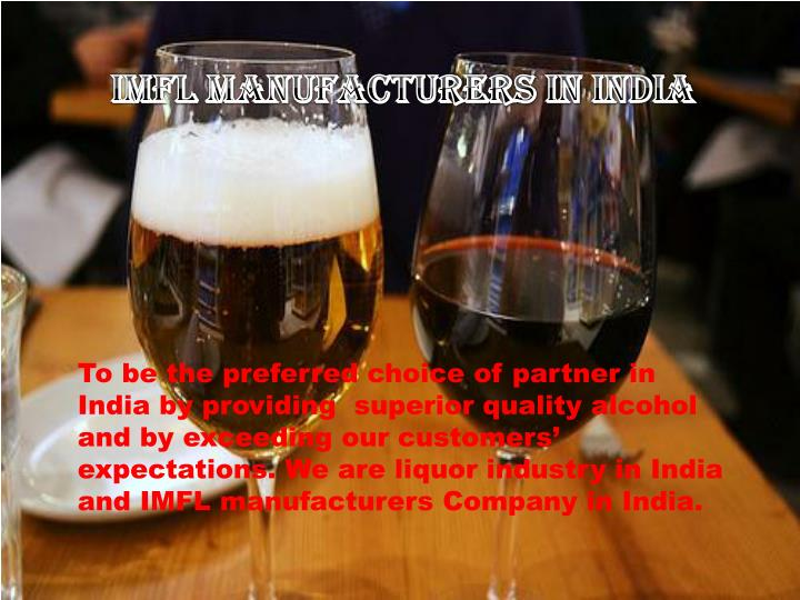 IMFL Manufacturers in India