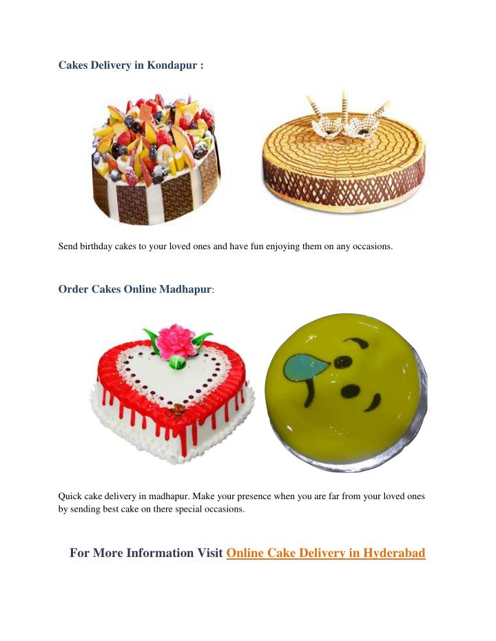 Cakes Delivery in Kondapur :