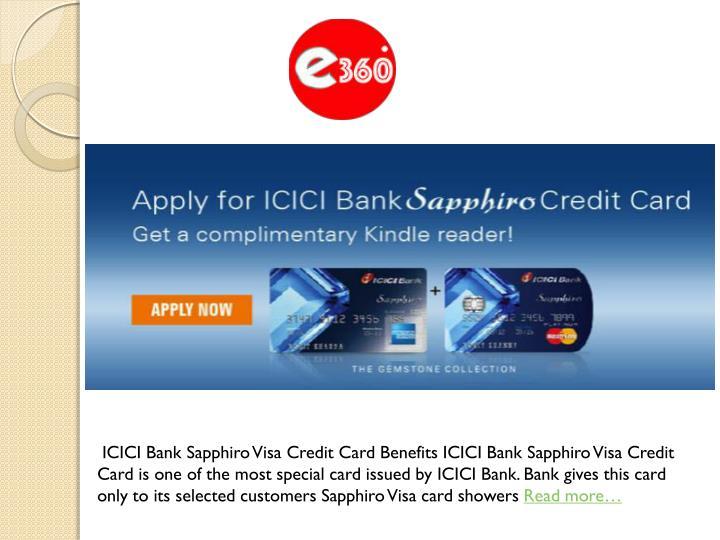 ICICI Bank Sapphiro Visa Credit Card Benefits ICICI Bank Sapphiro Visa Credit